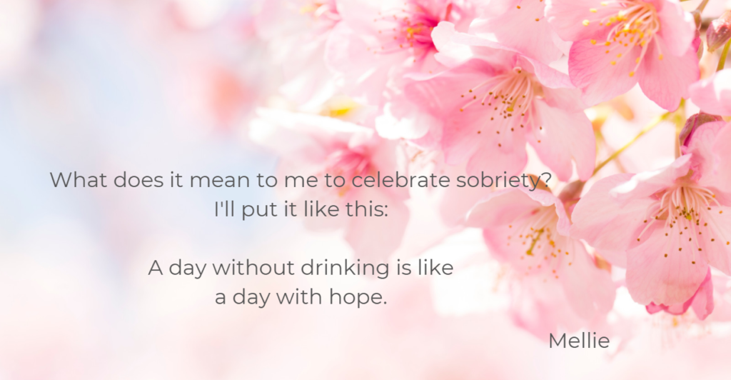 sobriety is hope message on image of cherry blossoms