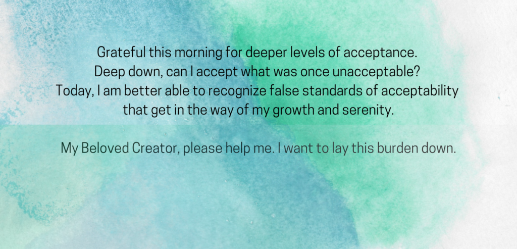 text prayer for acceptance in order to grow on a blue and green watercolor background