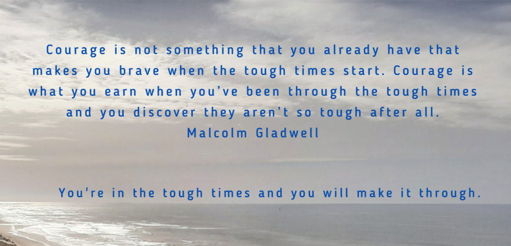Malcolm Gladwell quote on background of sky and sea
