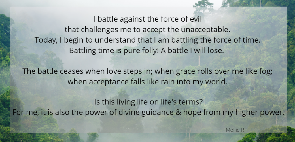 Mini epiphany that fighting internal battles is futile but grace, acceptance, and love triumph; background of foggy forest.