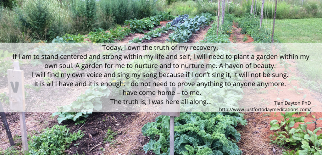 affirmation about becoming strong, cultivating your own life, on an image of a hearty vegetable garden